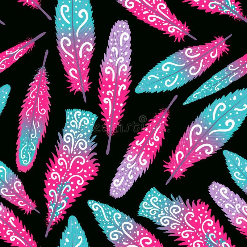 火鸟羽毛brigth五颜六色的手拉的漩涡 无缝的模式 在黑暗隔绝的传染媒介例证 皇族释放例证