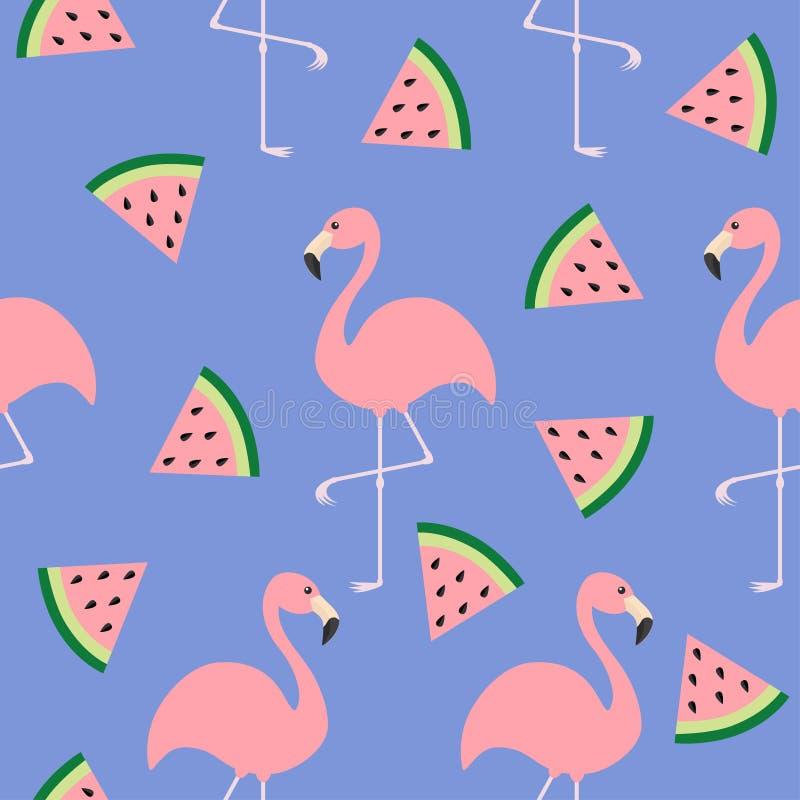 火鸟集合 无缝的样式平的设计 异乎寻常的热带鸟 西瓜三角切片种子 动物园动物汇集 逗人喜爱的汽车 皇族释放例证