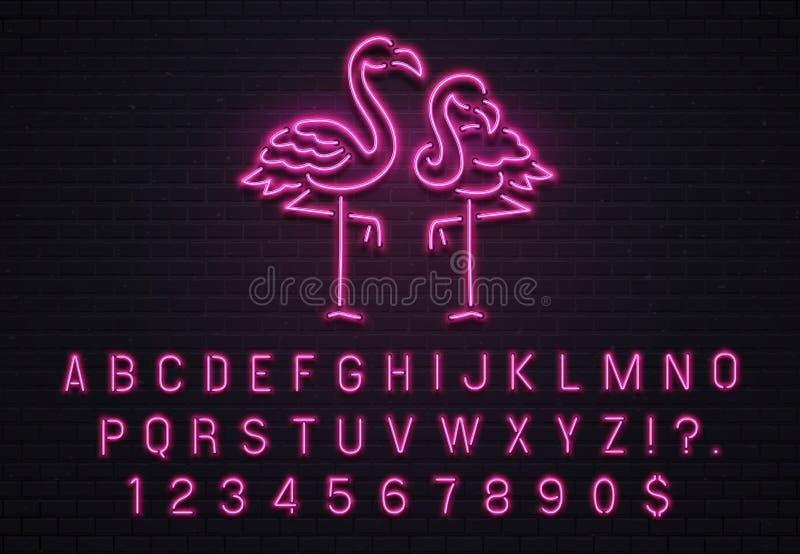 火鸟霓虹灯广告 桃红色80s字体 与紫色电灯泡的热带火鸟电辉光酒吧广告牌在传染媒介上写字 库存例证