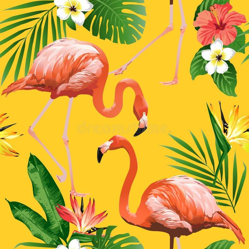 火鸟鸟和热带花背景-无缝的样式 向量例证