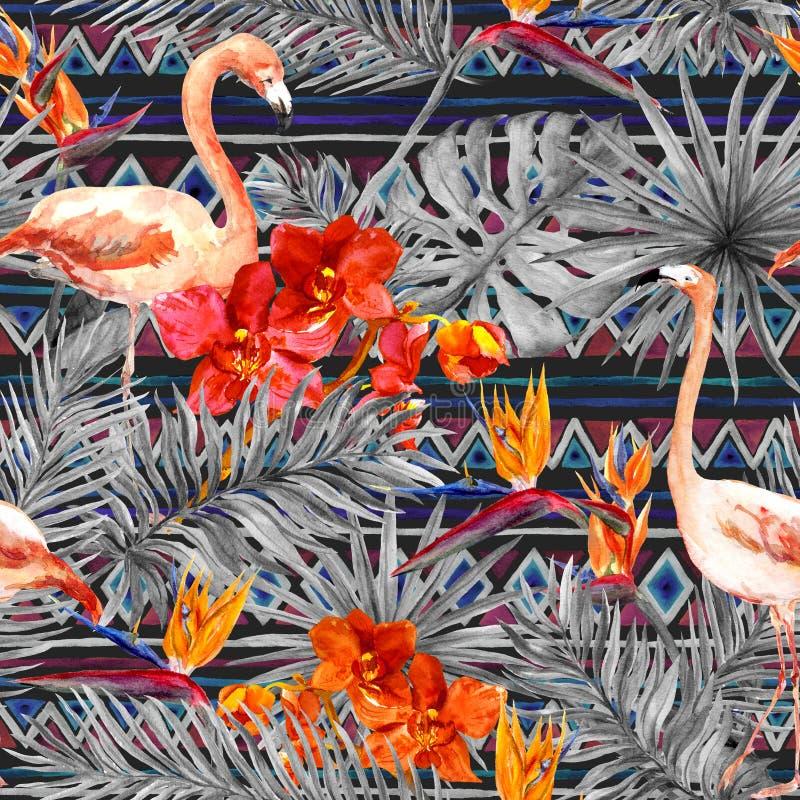 火鸟,热带叶子,异乎寻常的花 无缝的部族背景 水彩 向量例证
