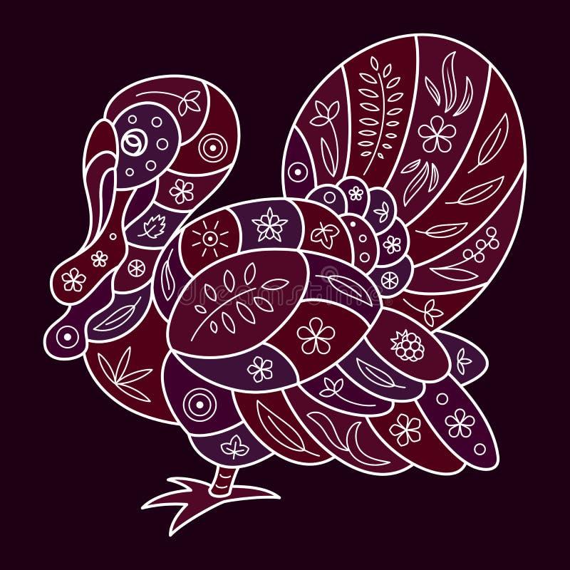 火鸡的风格化传染媒介样式,装饰用一个花卉样式,与一个白色边缘 库存例证