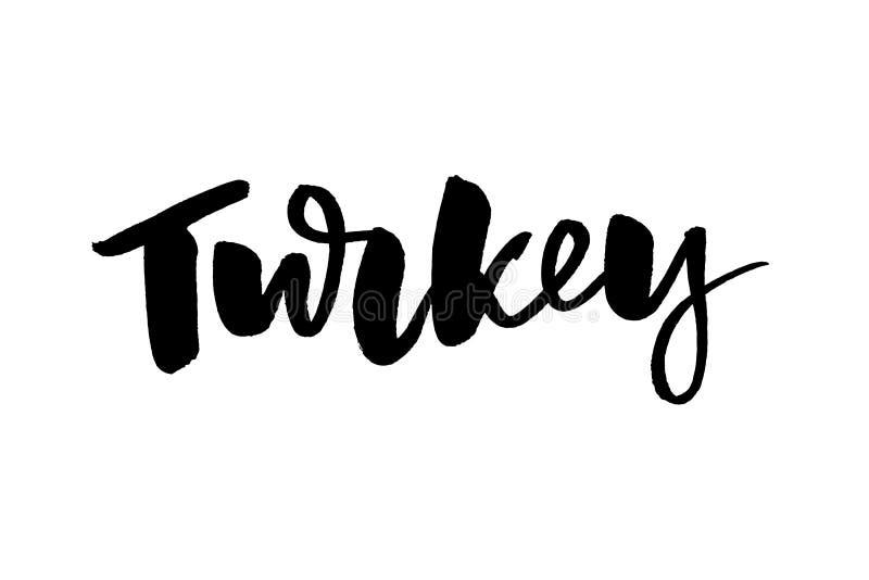 火鸡 感恩节与书法的葡萄酒卡片 手写的字法 贺卡的手拉的设计元素, 库存例证