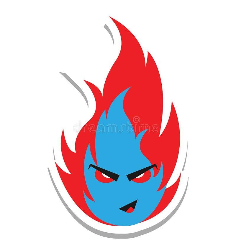 火,可怕的颜色隔绝了可以容易地是编辑的传染媒介象或修改了 库存例证