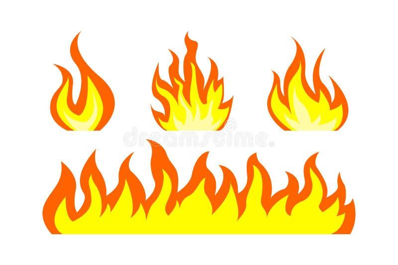火 火篝火火焰  火火焰带  在空白背景查出的向量 向量例证