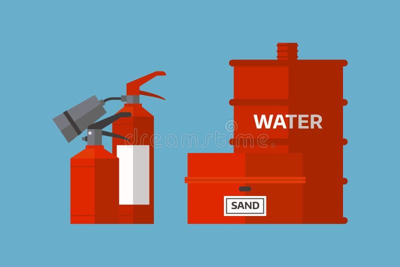 灭火器危险保护安全帮助设备压力易燃的传染媒介例证 向量例证