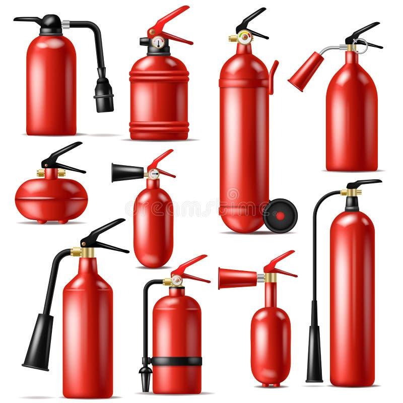 灭火器熄灭与灭火器例证套的火焰的传染媒介保护熄灭 库存例证
