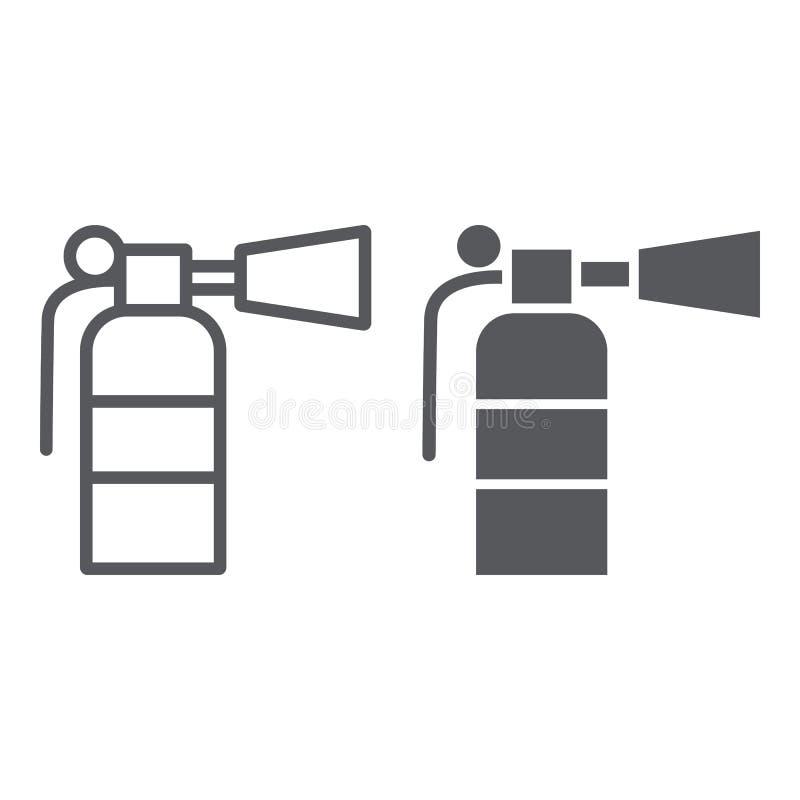 灭火器线和纵的沟纹象、紧急状态和消防,熄灭标志,向量图形,一个线性样式  向量例证