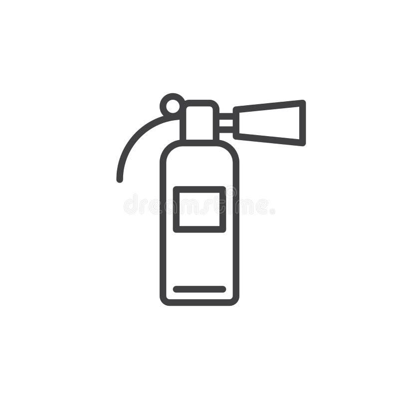 灭火器线象,概述传染媒介标志,在白色隔绝的线性样式图表 库存例证