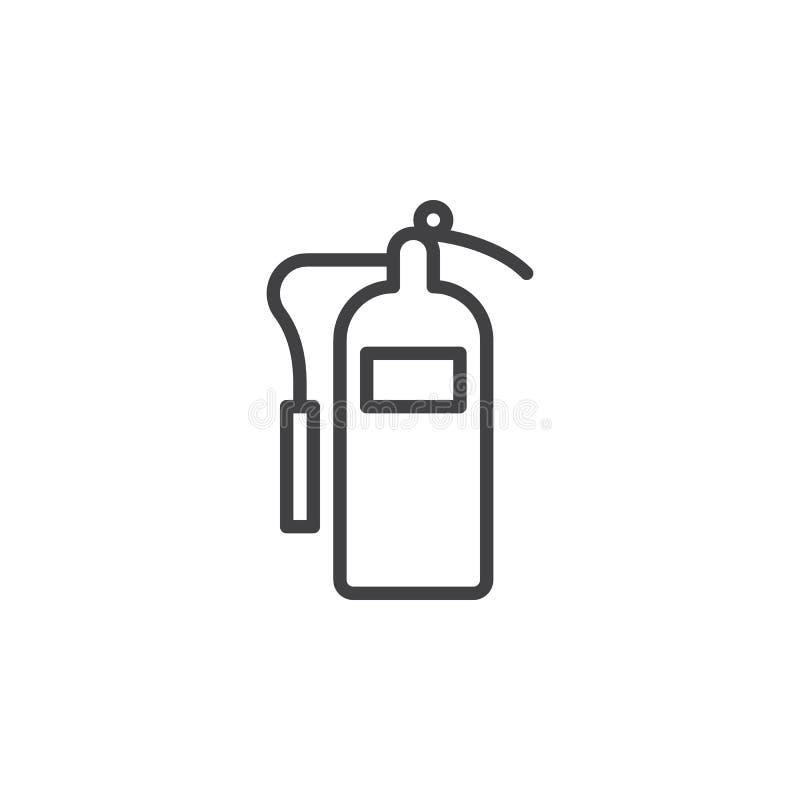 灭火器线象,概述传染媒介标志,在白色隔绝的线性样式图表图片