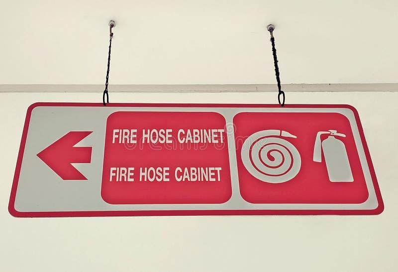灭火水龙带内阁天花板标志 免版税库存照片