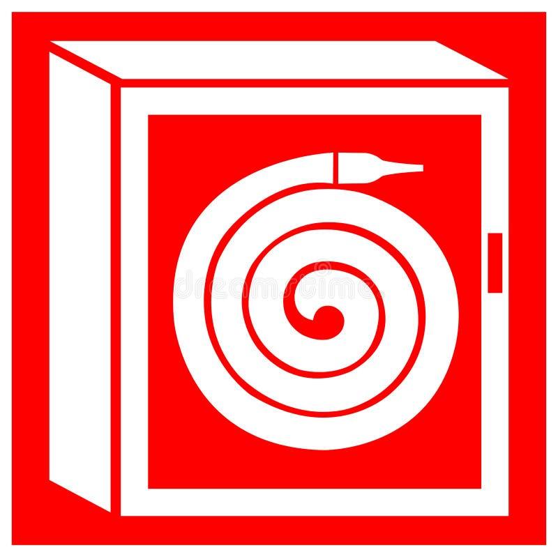 灭火水龙带卷轴内阁标志在白色背景,传染媒介例证EPS的标志孤立 10 库存例证