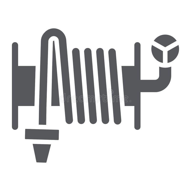 灭火水龙带纵的沟纹象、设备和水,水管卷轴标志,向量图形,在白色背景的一个坚实样式 皇族释放例证