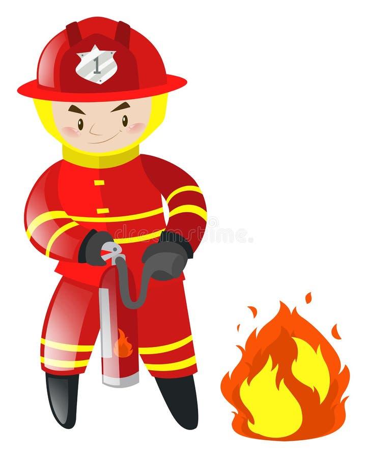 灭火的消防员 库存例证