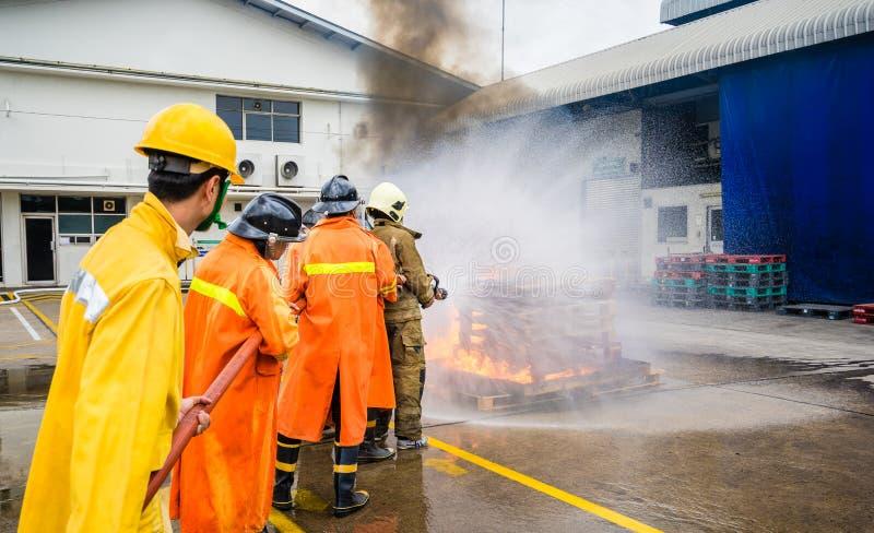 灭火的消防队员在训练期间 免版税库存照片