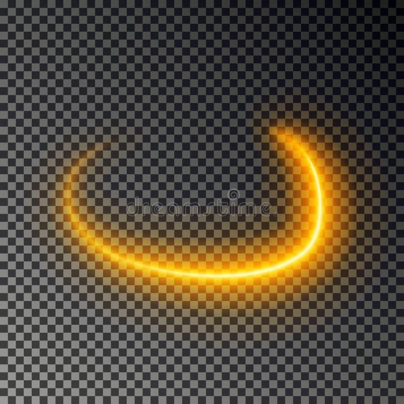 灯光管制线作用,金子传染媒介 发光的轻的火踪影 被隔绝的闪烁不可思议的漩涡足迹作用 库存例证