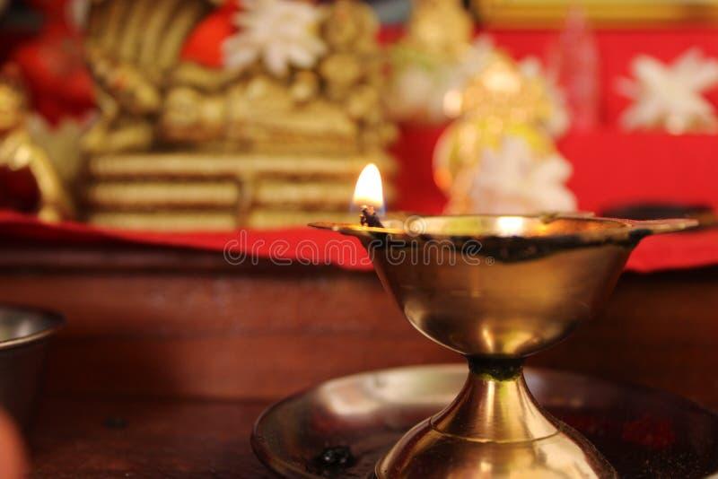 灯印度寺庙宗教节日和平 免版税库存图片