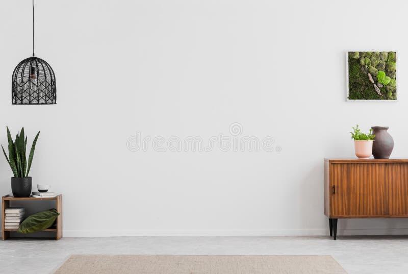 灯和海报在白色空的客厅内部与植物和木内阁 实际照片 您的家具的地方 库存照片