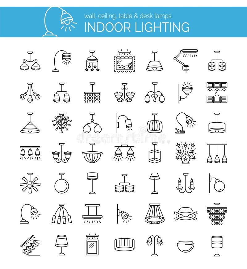 灯和照明设备 家庭照明 传染媒介线被设置的象 皇族释放例证