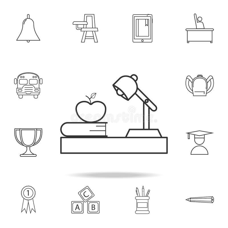 灯在桌上的书苹果,工作场所象 详细的套教育概述象 优质质量图形设计 一  库存例证