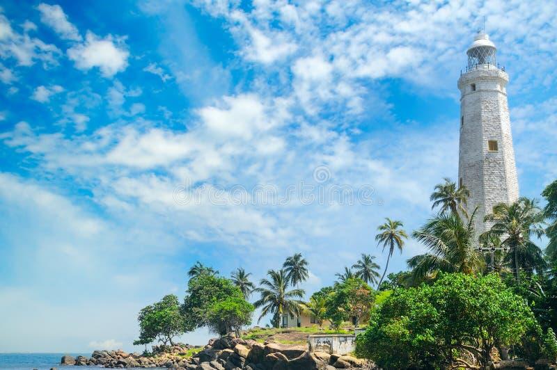 灯塔、盐水湖和热带棕榈马塔勒斯里兰卡 免版税图库摄影