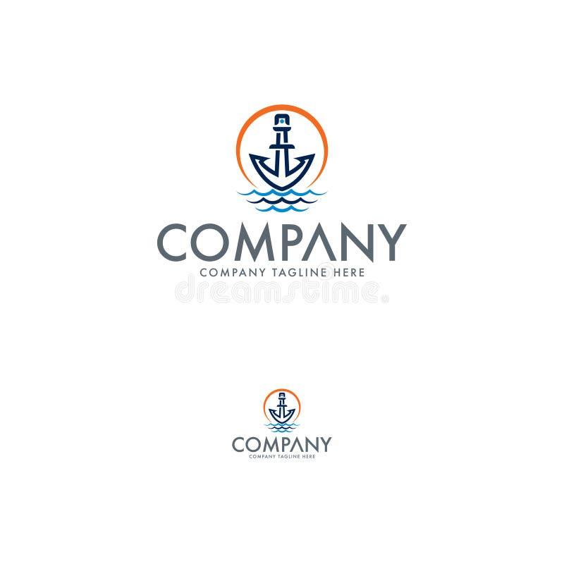 灯塔、船锚、海和太阳商标设计 库存例证