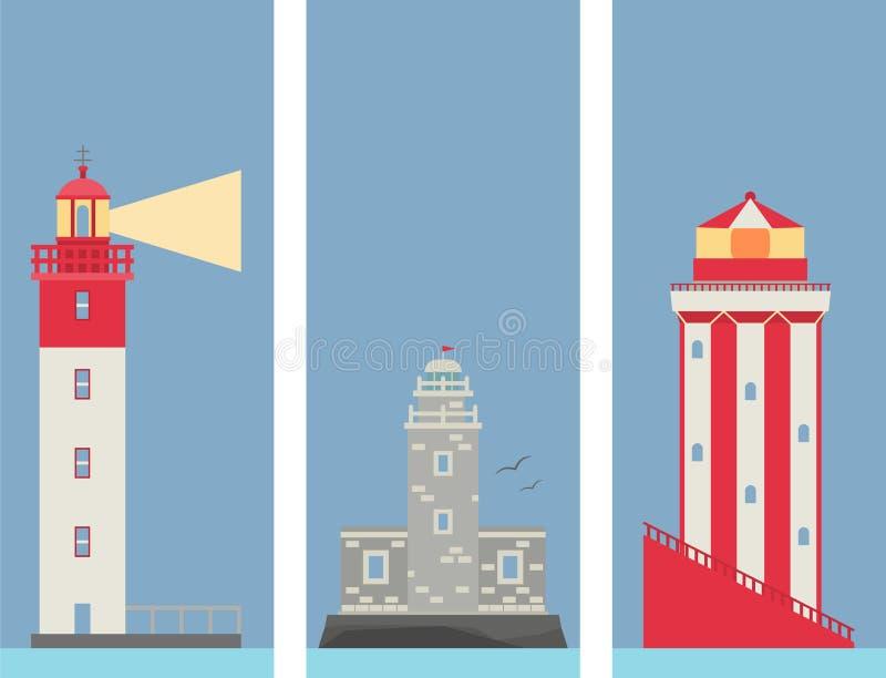 灯塔传染媒介横幅平的探照灯为海上航行教导海洋立标灯安全安全耸立 库存例证