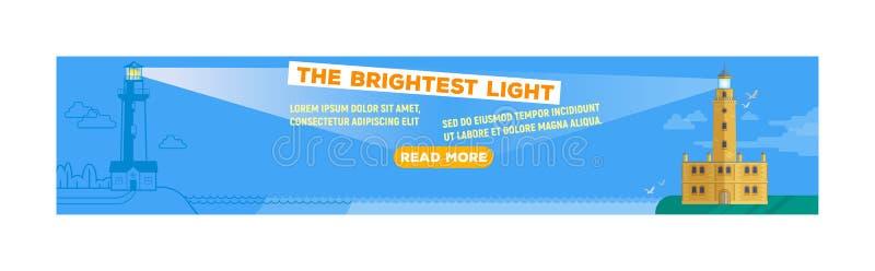 灯塔传染媒介横幅,照明设备船光束路径的海立标灯从海边海岸套的背景 皇族释放例证