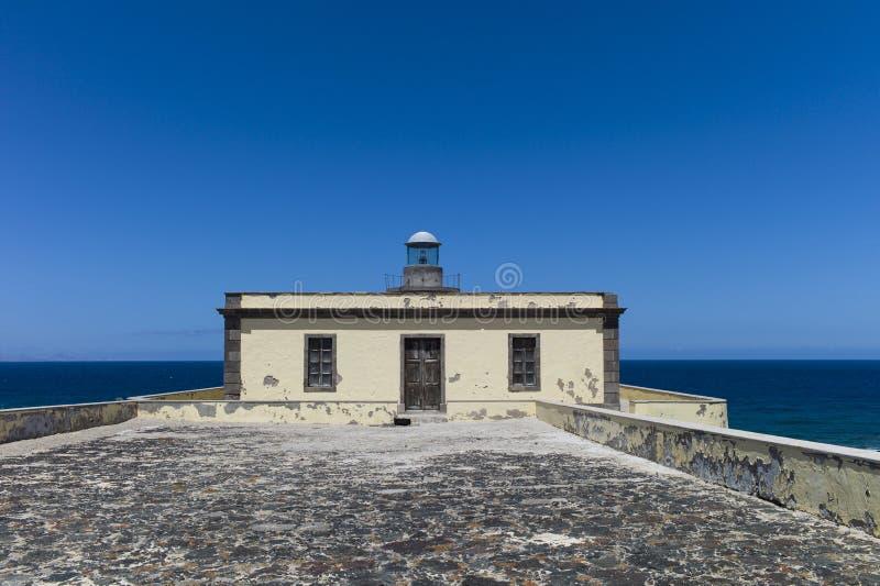 灯塔加那利群岛费埃特文图拉岛Los罗伯斯 免版税库存照片