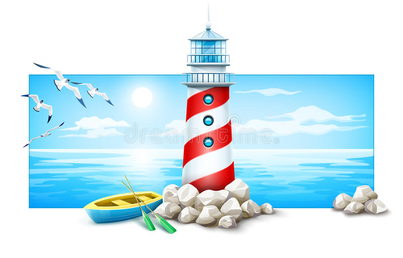 灯塔和小船在石头海岛 高JPG解决方法海运日落 库存例证