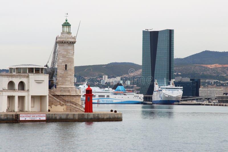 灯塔和新的口岸,马赛,法国 库存照片
