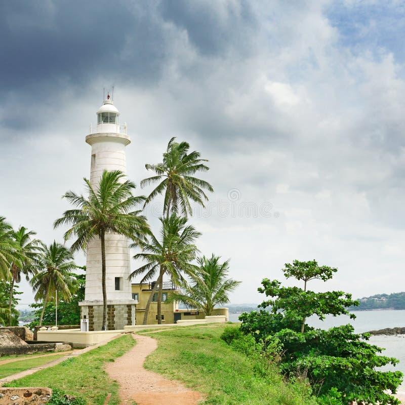 灯塔和棕榈树 免版税图库摄影