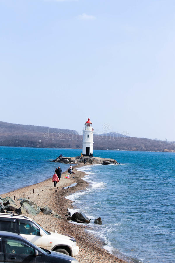灯塔和海运 库存图片