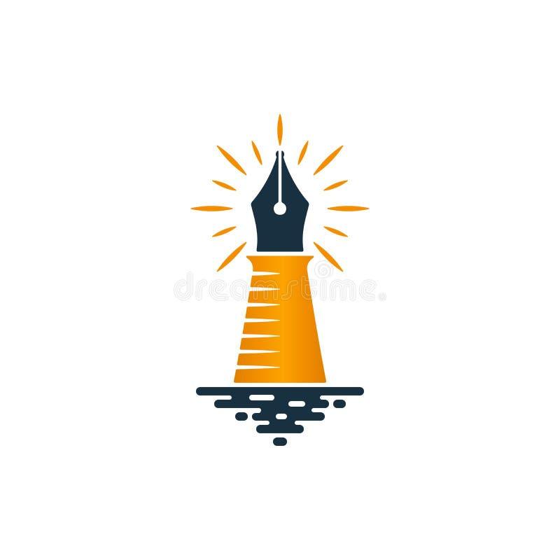 灯塔和钢笔商标设计 向量例证