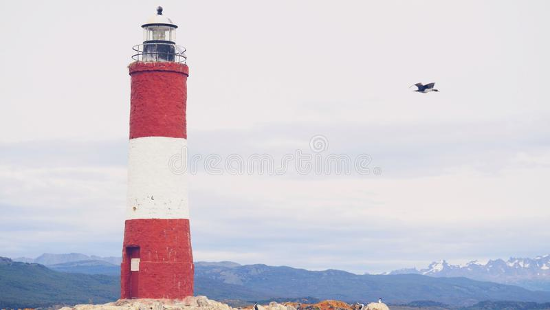 灯塔在乌斯怀亚,阿根廷 免版税库存照片