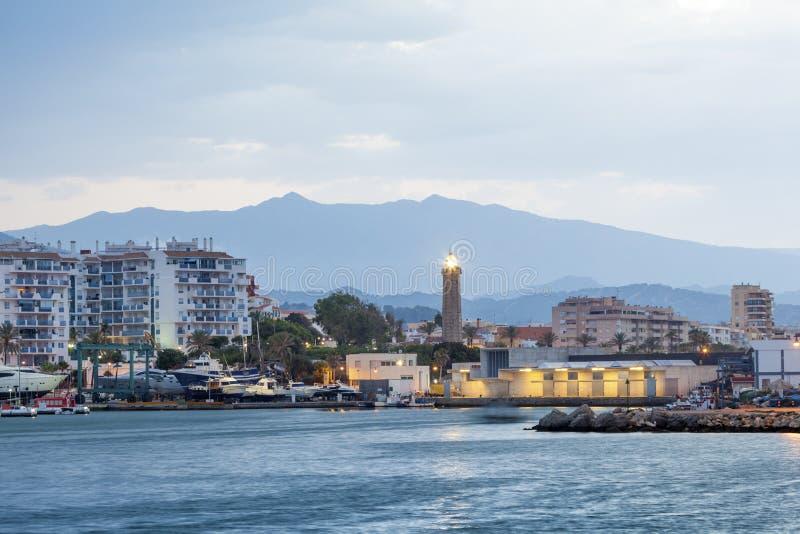 灯塔在埃斯特波纳 马拉加省,西班牙 免版税库存图片