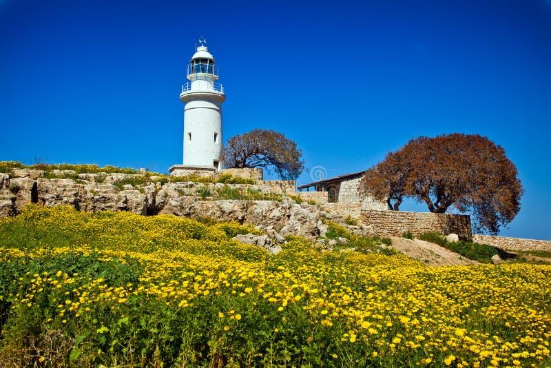灯塔在帕福斯,塞浦路斯 免版税库存图片