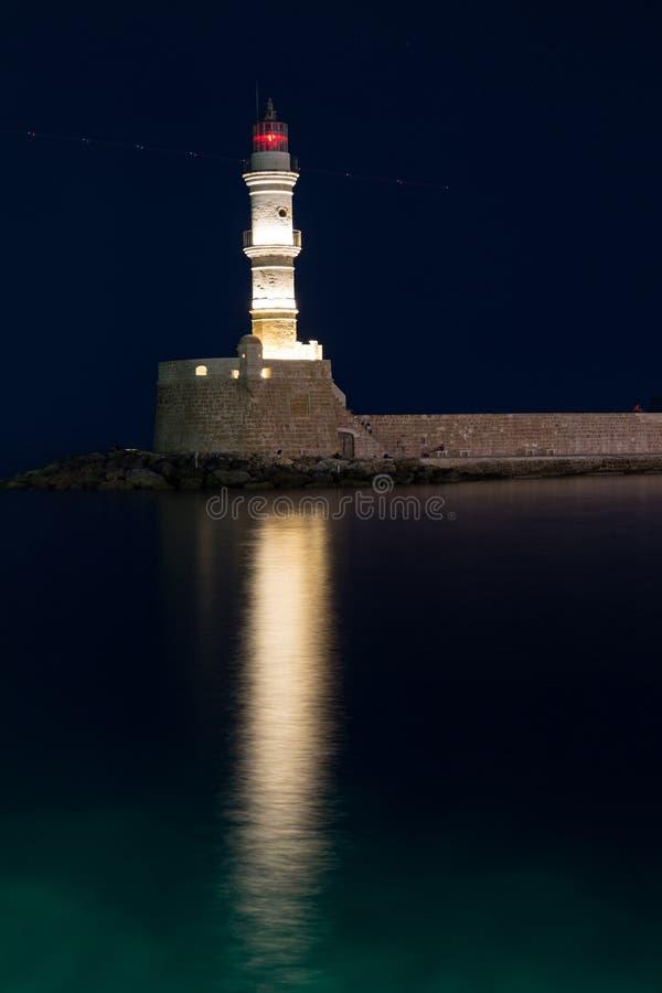 灯塔在干尼亚州,克利特,希腊 库存图片
