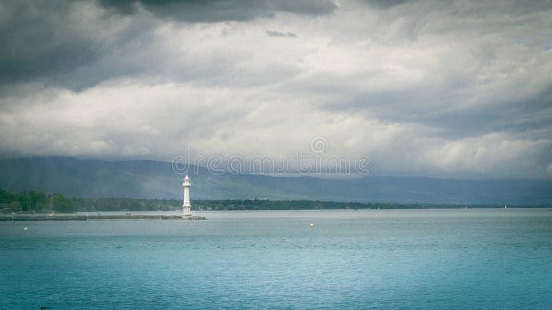 灯塔在日内瓦 免版税库存照片