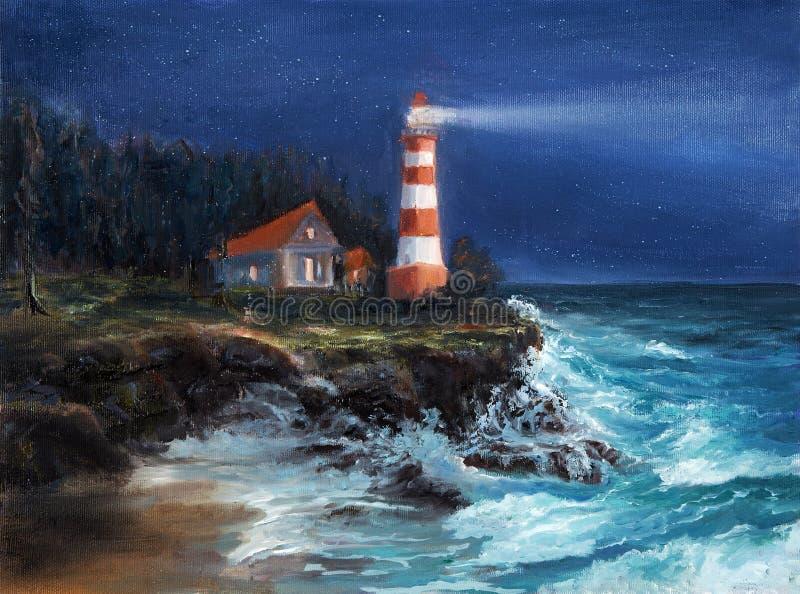 灯塔在晚上 向量例证