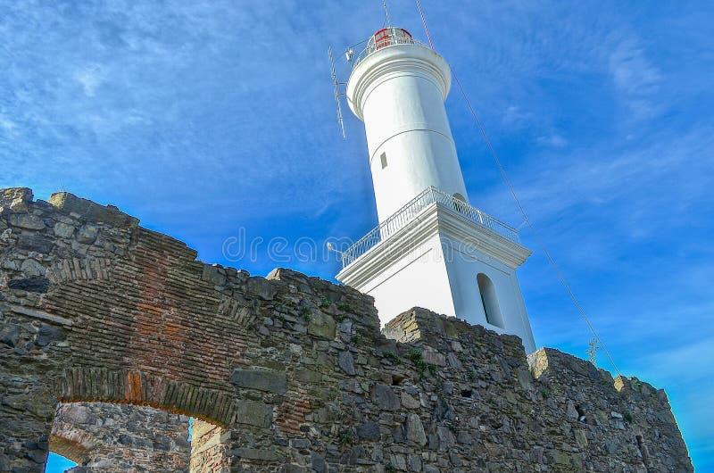 灯塔在科洛尼亚省,乌拉圭 免版税库存图片