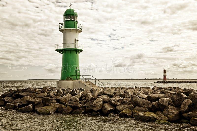 灯塔在罗斯托克Warnemunde 图库摄影