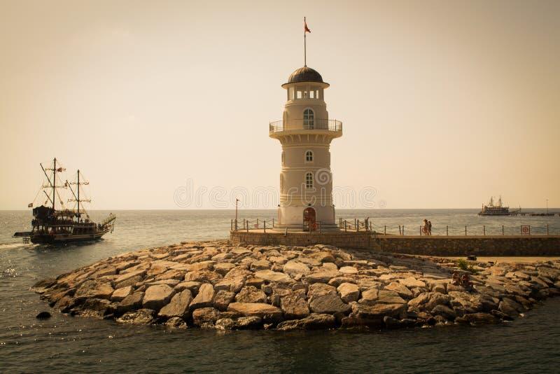 灯塔在阿拉尼亚,土耳其 库存照片