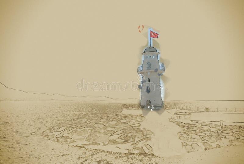 灯塔在阿拉尼亚 免版税库存图片