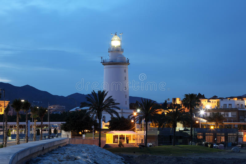 灯塔在马拉加 库存照片