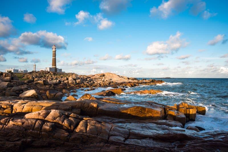 灯塔在Cabo Polonio 免版税库存图片
