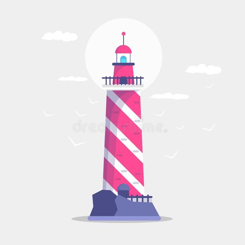 灯塔大厦的平的例证,道路照明设备 与海鸥的探照灯塔船的航海的 海pharos 向量例证