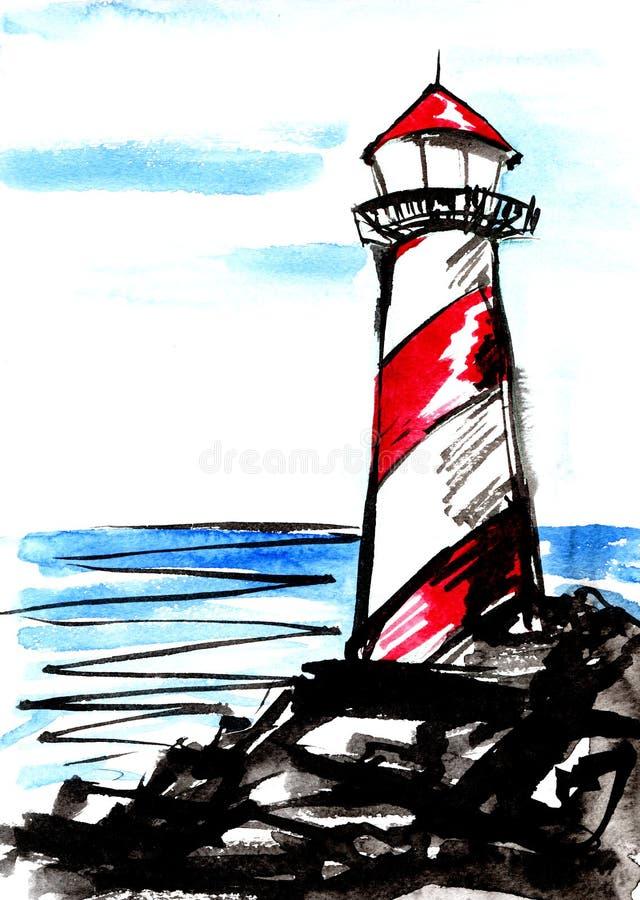 灯塔对比的墨水剪影  象查找的画笔活性炭被画的现有量例证以图例解释者做柔和的淡色彩对传统 向量例证