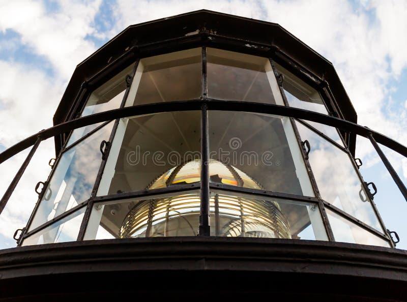灯塔有菲涅耳透镜的矿灯房 库存图片