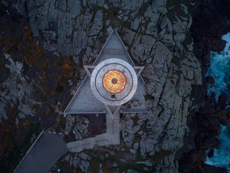 灯塔的鸟瞰图 库存图片